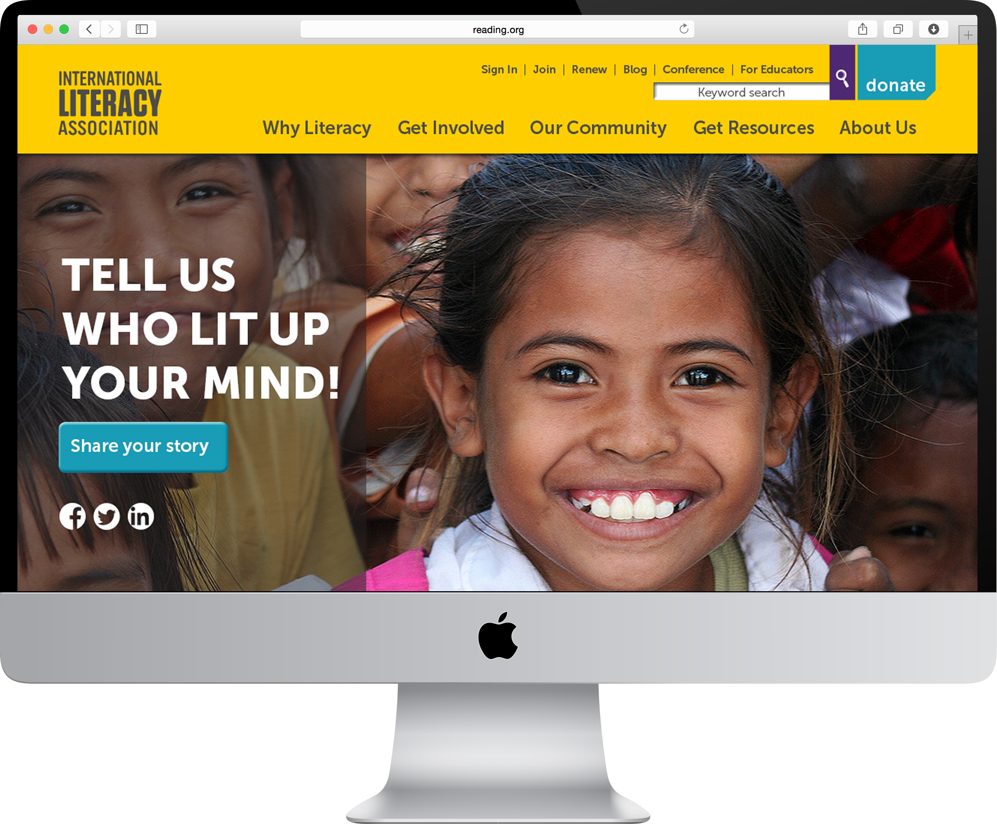 ILA's website redesign featuring the Light Up a Mind campaign