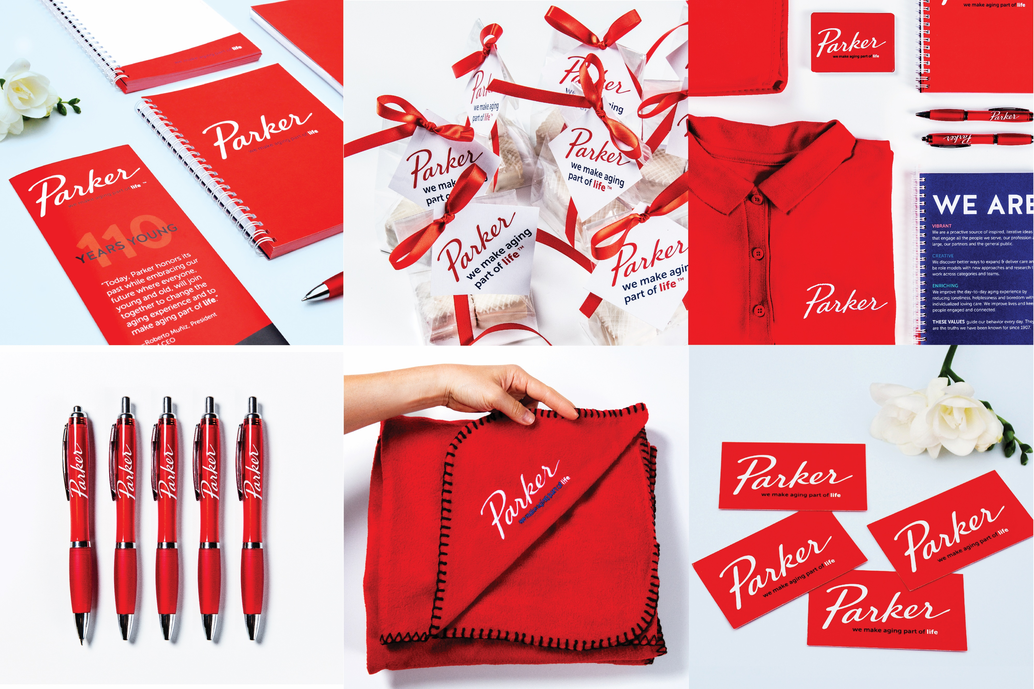 Gifts for Parker's brand launch attendees featured new logo and design